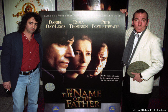 Gerry Conlon (l), one of the Guildford Four, in London, on the opening of 'In The Name of the Father', a controversial film about the plight of the four with Daniel Day-Lewis starring as Gerry Conlon and Pete Postlethwaite (r) as Gerry's Father, Guiseppe